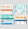 boarding pass template board tickets airplane vector image vector image