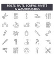 bolts nuts screw rivets washers line icons vector image