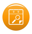 calendar search icon orange vector image vector image