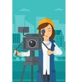 Camerawoman with movie camera on a tripod vector image vector image