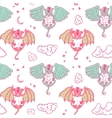 Cartoon pattern with monsters angel and yo vector image vector image