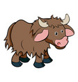 cartoon yak animal character vector image vector image