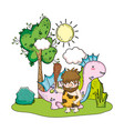 caveman with dinosaur in the landscape vector image