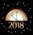 christmas new year 2018 golden clock and bright vector image vector image