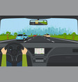 city traffic on highway with car dashboard vector image