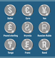 currency silver logo coins vector image vector image