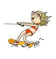 cute cartoon wakeboard girl in swimsuit doing vector image vector image