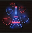 eiffel tower in neon light on brick vector image