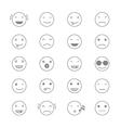 Emoticons Collection Set of Emoji Flat monochrome vector image
