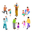 fathers and kids isometric joint activity dads vector image vector image