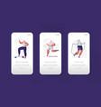 fitness gym character mobile app onboard screen vector image vector image