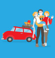 flat family travel car with baggage vector image