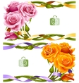 frame set yellow and pink roses vector image vector image