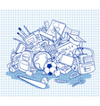 freehand school items in a pile vector image vector image
