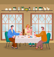 friends meeting at home with cake and wine vector image vector image