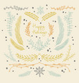 hand drawn floral new year background vector image