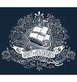 Hand drawn vintage label with a ship and hand vector image vector image