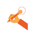 hand holding a pencil icon vector image