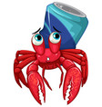 hermit crab with soda can on white background