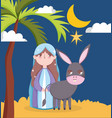 mary and donkey night palm moon manger nativity vector image vector image