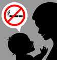 Mom and baby with a prohibiting smoking sign vector image