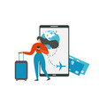 planning vacation travel with mobile app vector image vector image
