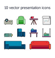 Presentation icons with projector and comfortable vector image vector image