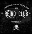 retro car club tee graphic design vector image