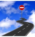 Road red stop road sign and blue sky vector image vector image