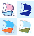 sailing boat ship icon set in flat and line styles vector image