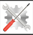 screwdriver wrench and gear repair logo vector image
