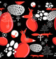 seamless pattern with red foxes vector image vector image