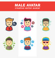 set creative male avatars vector image