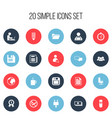 set of 20 editable office icons includes symbols vector image vector image