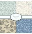 Set of 4 seamless patterns with shells vector image vector image