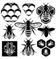 set of monochrome honey emblems and design vector image