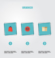set of shopping icons flat style symbols with bag vector image