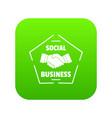 social business icon green vector image