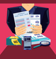 tax day with smartphone and set icons vector image vector image