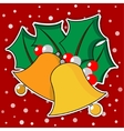 two golden Christmas bells with leaves vector image vector image