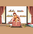 woman shopping for shoes vector image vector image