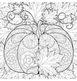 Zentangle stylized Pumpkin on autumn leaves vector image vector image