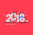 happy 2018 new year flat greeting card vector image