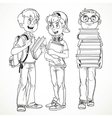 Schoolboys with textbooks and backpacks talk line vector image
