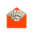 usa banking currency in open red envelope vector image