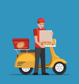 delivery man handling pizza box to customer vector image
