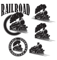set of templates with locomotive vintage vector image