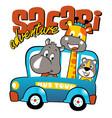 animals cartoon vacation with mini bus cartoon vector image vector image