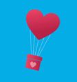 balloon in the shape of heart carring the gift vector image