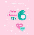 birthday bacute card with pinguin number six vector image vector image